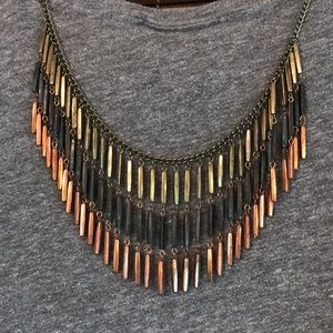 Gold, Blue, Copper Statement Necklace
